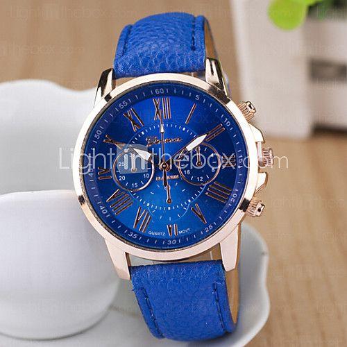 Женские Модные часы Кварцевый PU Группа Черный Белый Синий Фиолетовый марка 2017 - $5.99