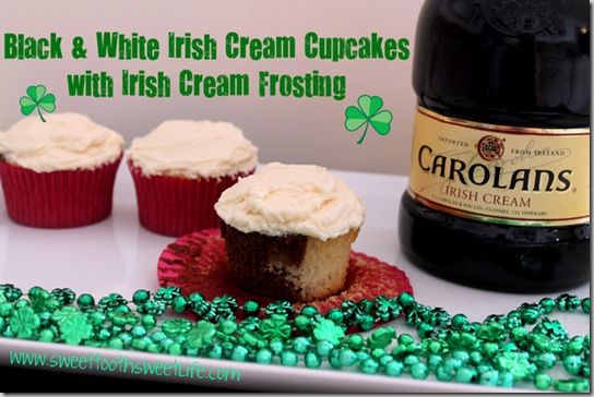 Marbled Irish Cream Cupcakes with Irish Cream Frosting  http://www.sweettoothsweetlife.com/2012/03/13/marbled-irish-cream-cupcakes-with-irish-cream-frosting/