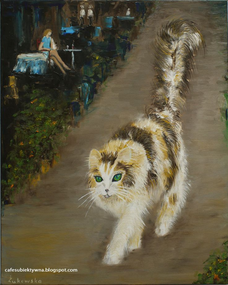 Cat. So is relationship between woman and a cat. Oil on canvas. Żukowska