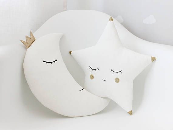 Set Of White Moon Pillow and White Star Pillow With A Little