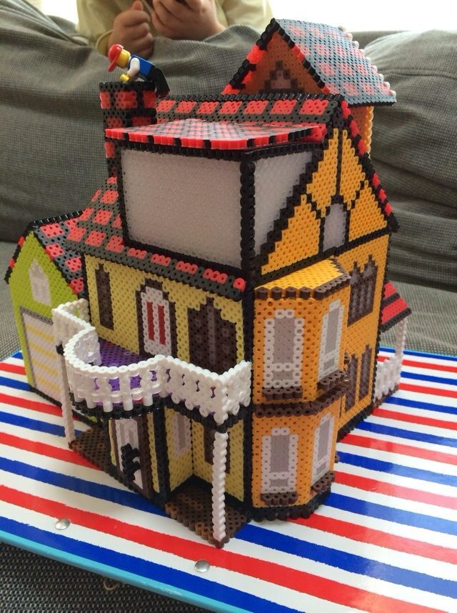 3D Perler Bead Projects   3D Little House project perler beads by Poppy Yu