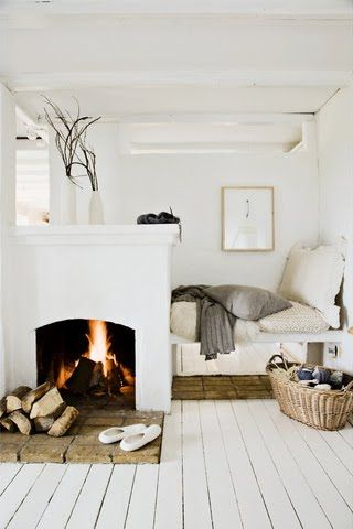 :: Havens South Designs :: Amber Interior Design's bed and fireplace would make for cozy small space living