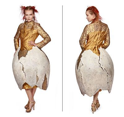 "Costume: Egg from Die Fledermaus, 2012   Erzsebet. Str. 40 (height 1.70)    Embroidered silk with sequins ""egg"" of skummelteriale with stand inside."