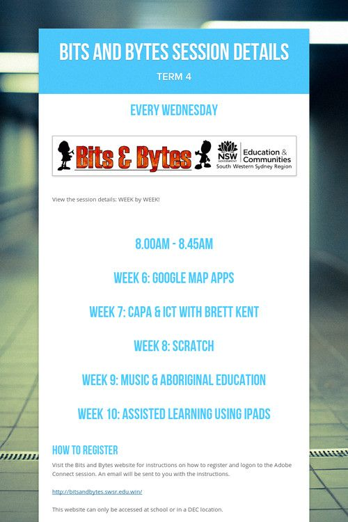 Bits and Bytes Session Details
