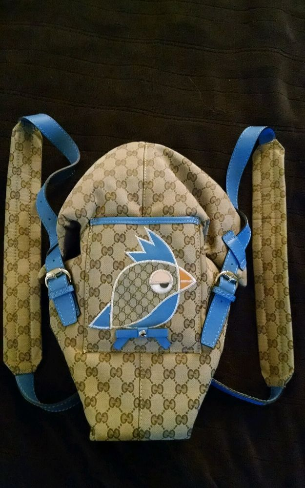 gucci designer gg logo baby carrier w/ blue leather trim and bird from $619.0