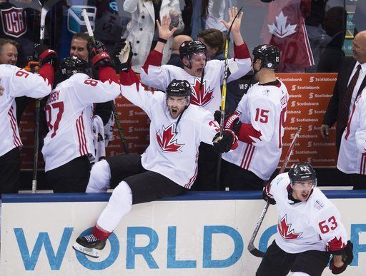 Canadian players celebrate after defeating Europe in the World Cup of Hockey finals, in Toronto on Thursday, Sept. 29, 2016. (Nathan Denette/The Canadian Press via AP)