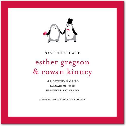 Precocious Penguins - Signature White Textured Save the Date Cards - Petite Alma - Black : Front