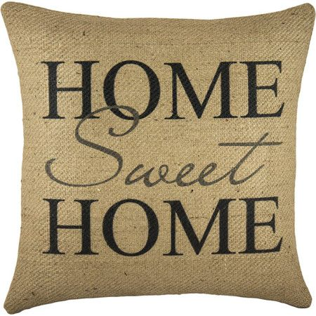 Invite country-chic charm to your home with this handmade burlap pillow, showcasing an eye-catching typographic motif.      Product: