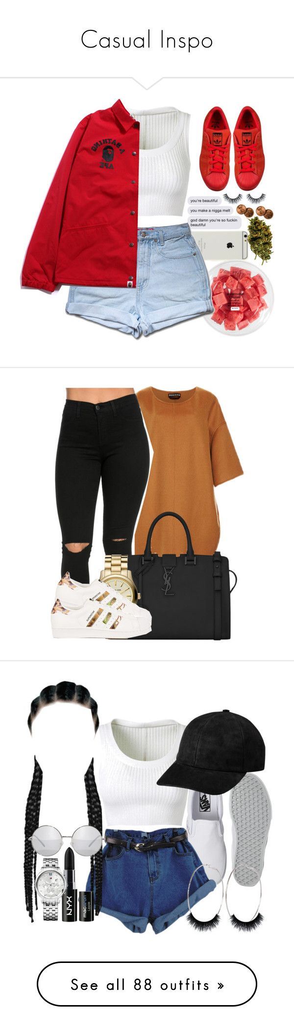 """Casual Inspo"" by oliviamariaairamaivilo ❤ liked on Polyvore featuring FRUIT, Alaïa, adidas Originals, Rochas, Yves Saint Laurent, MICHAEL Michael Kors, Vans, River Island, NYX and Tommy Hilfiger"