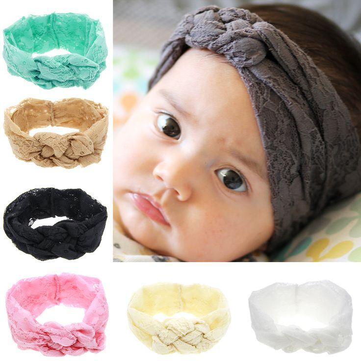 Anak-anak bahan Lembut Renda Busur Simpul Elastis Headband Aksesoris Rambut Yang Indah dan Nyaman Baru Lahir Band W204
