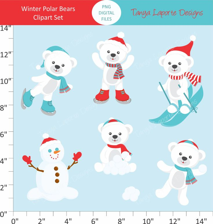Winter Polar Bears Clipart - 7 piece set - PNG Files by TanyaLaporteDesigns on Etsy