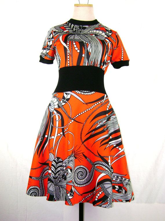 1970s Psychedelic Botanical Print Mini Dress in by ragsfeathers, $42.00