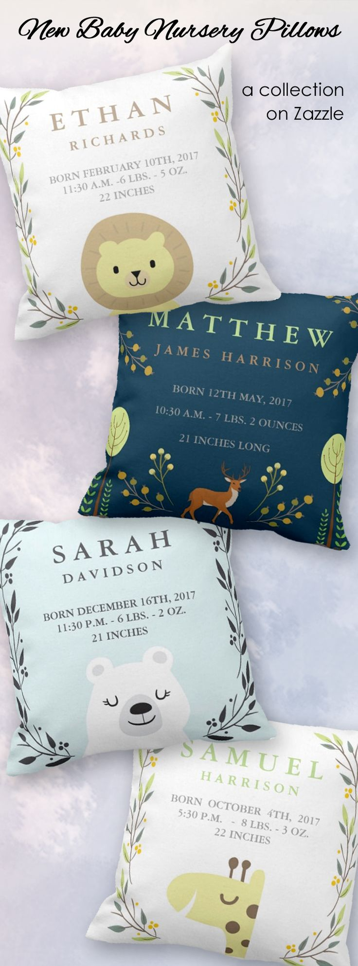 """Beautiful keepsake baby pillows can be easily personalized with baby's name and birth stats for a memorable keepsake gift to welcome the new li'l man or li'l lady 