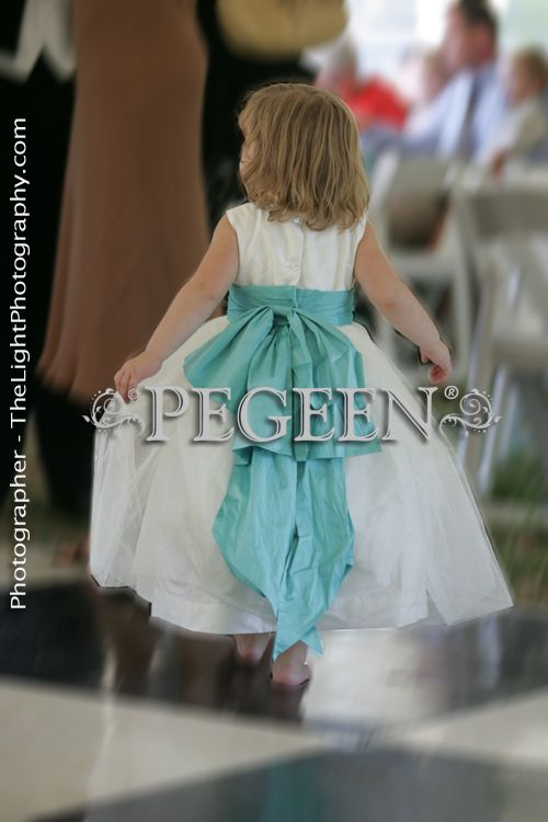 Flower girl dress of the Year in tiffany blue and ivory silk and tulle | Pegeen ~ Located 1 mile from Disney World, Selling online and shipping worldwide. Call us for design help! 407-928-2377