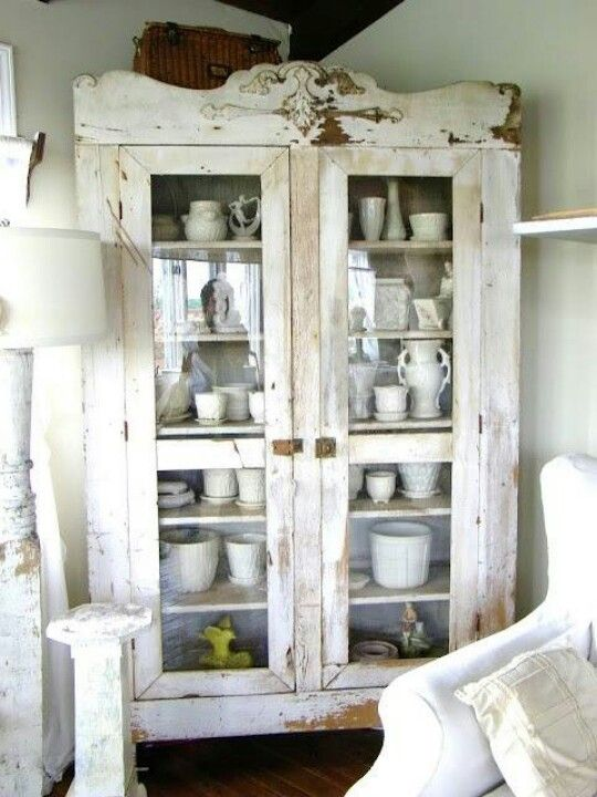 White cabinet Mine would be full of colorful dishes