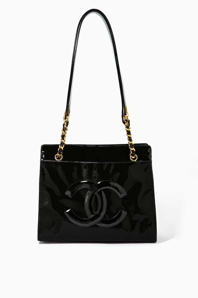 Vintage Chanel Black Patent Tote