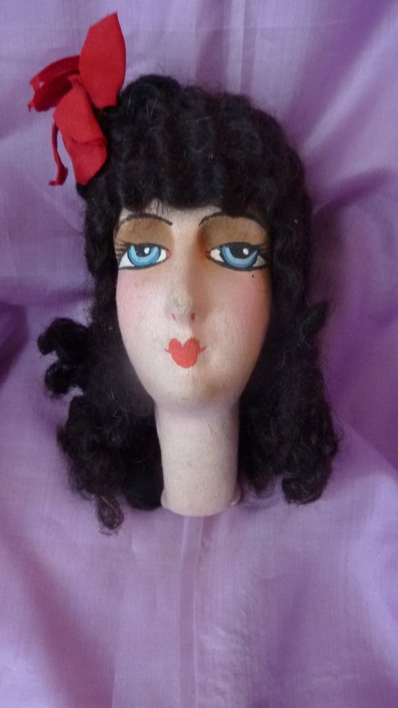 Adorable French boudoir doll head black curly hair 1920 from frenchfadedgrandeur on Ruby Lane