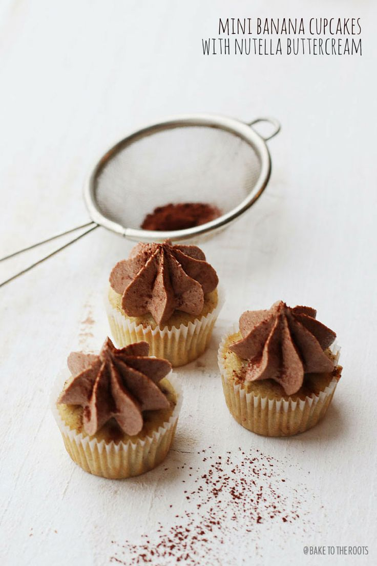Mini Banana Cupcakes with Nutella Buttercream