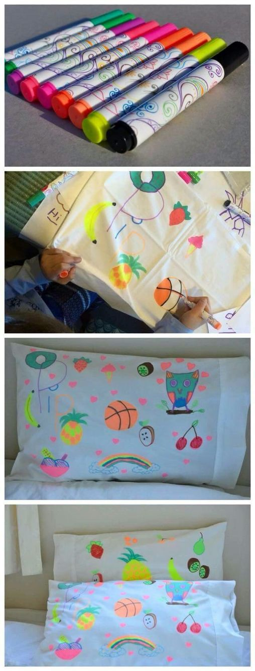 Pancakes and pajamas birthday party  - paint your own pillowcase / party favors