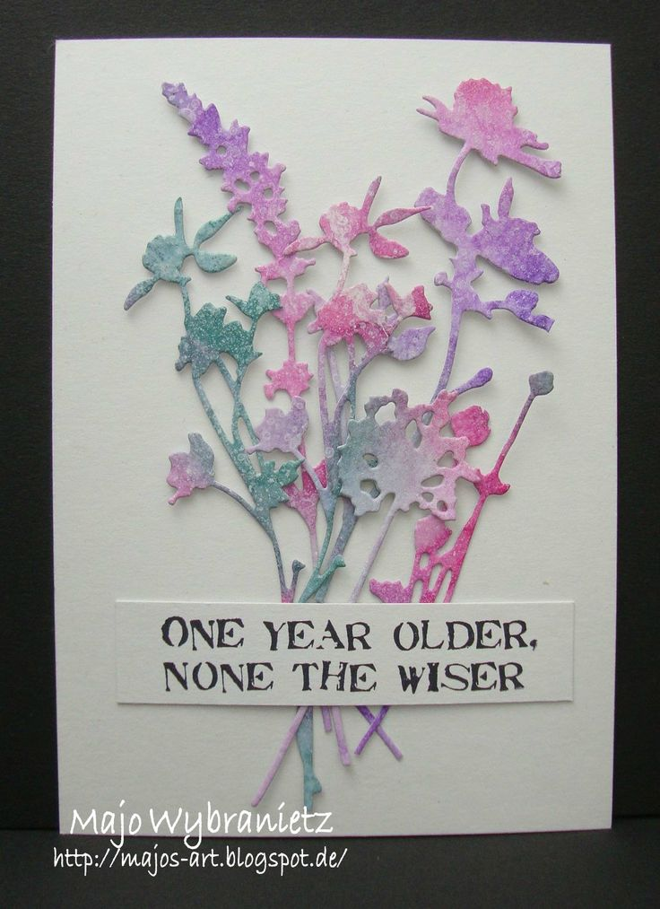 I created a CAS birthday card with my favorite dies, the *wildflowers* designed by Tim Holtz. I colored the flowers with distress ink in di...
