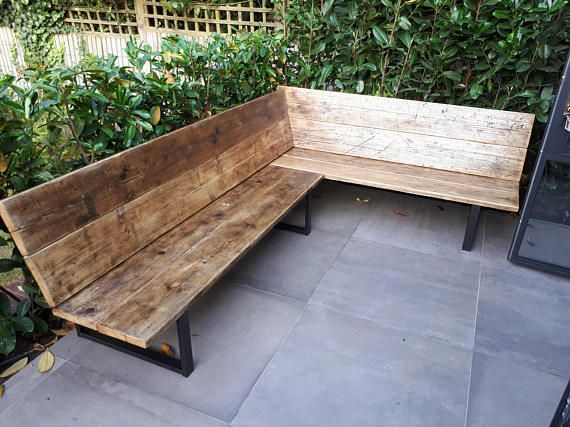 Reclaimed Scaffold Board Amp Steel Corner Bench Sofa 35cm