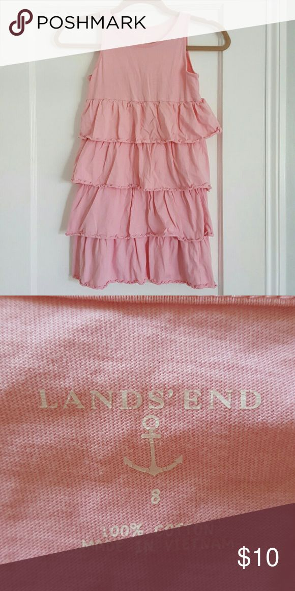 Lands End pink ruffle dress Girls Sz 8 100% cotton, cute and comfy dress. 13.5 inches armpit to armpit, 24.5 inches long Lands' End Dresses Casual