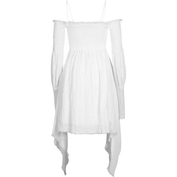 Creature Bodice Dress | Moda Operandi (£450) ❤ liked on Polyvore featuring dresses, white off the shoulder dress, off the shoulder dress, ruched dress, white off-shoulder dresses and off shoulder long sleeve dress