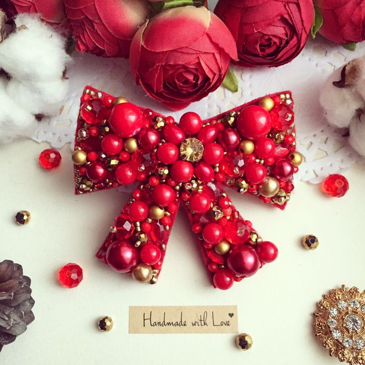 Handmade beaded bow brooch