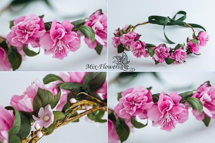 Венок из цветов сакуры. Шелковая флористика.