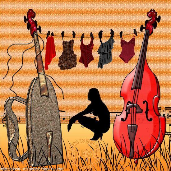 Artwork >> Abelard Ouvert La Nuit >> Clothesline #artwork, #violin, #music, #masterpiece, #girl,