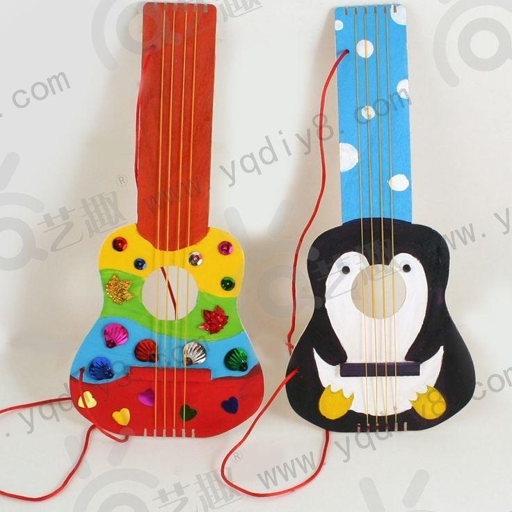 2 шт. деревянные DIY гитара чертежной доске kid ' ы детский сад ручной работы судов с 6 цвета краски и кисть дети развивающие игрушки