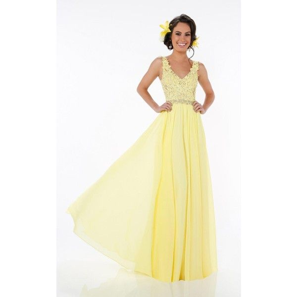 Mon Cheri 116561 Prom Lace Dress Long V-Neck Sleeveless ($398) ❤ liked on Polyvore featuring dresses, formal dresses, yellow, long dresses, beige lace dress, long beige dress, lace prom dresses and beige prom dresses