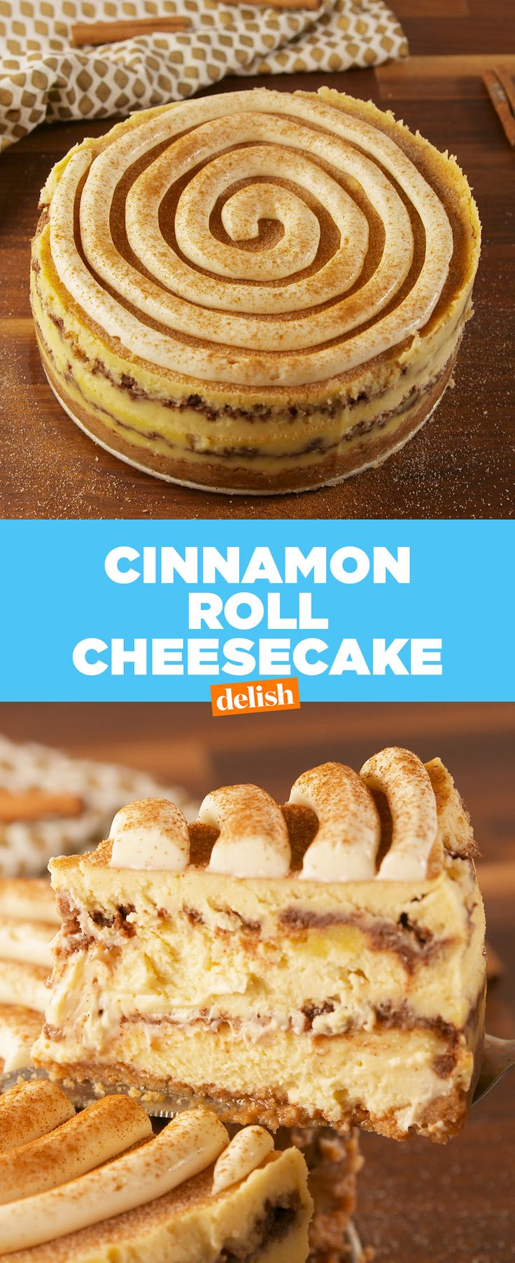 Cinnamon Roll Cheesecake makes eating dessert for breakfast totally acceptable | Posted By: DebbieNet.com