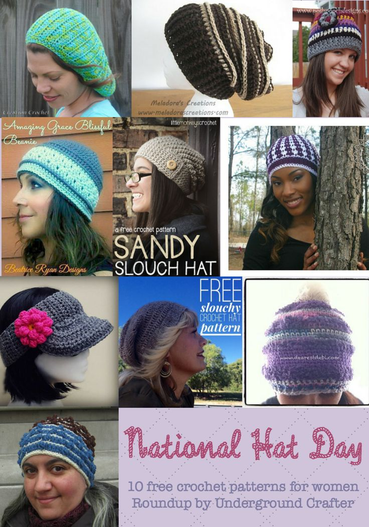 National Hat Day, roundup of 10 free crochet hat patterns by Underground Crafter