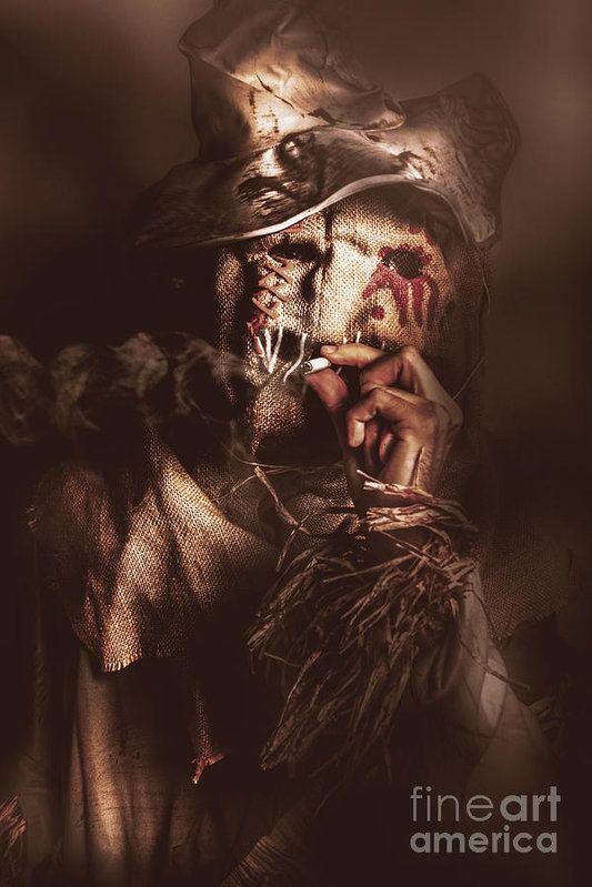 Dark horror portrait of a sinister scarecrow smoking ...