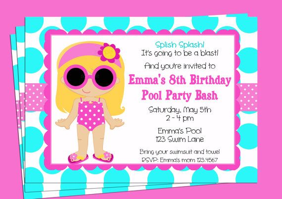 Pool Party Invitation Printable  You pick hair by ThatPartyChick, $15.00
