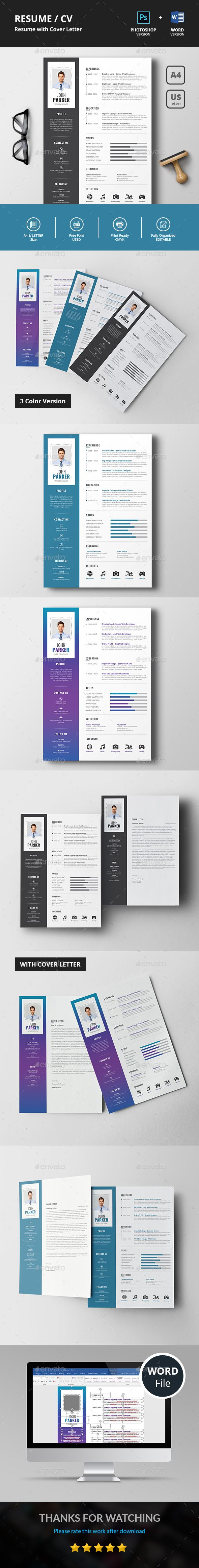 Resume/CV This is a simple clean resume template focusing Name,Experience,Education and Skills which includes Resume & Cover Letter.International A4 & US Letter sizes included. Very Easy to edit your information such as typography, wording, colors and layout.this template created with strong baseline.