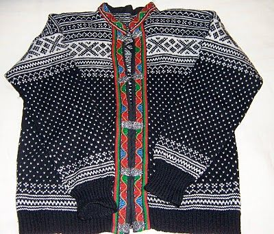 A typical Norwegian sweater.  The clasps are usually silver.  They are very expensive!!!  About $400