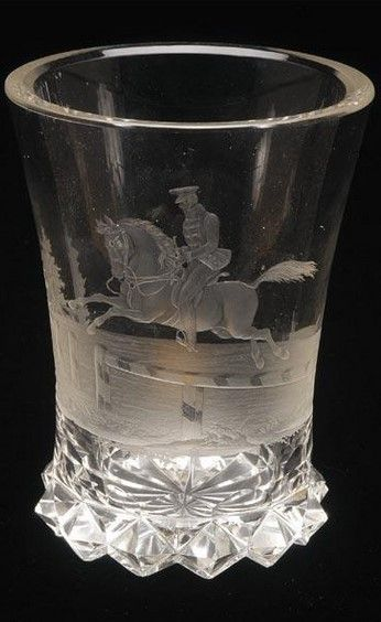A Bohemian engraved beaker, circa 1835 BECHER, BÖHMEN, UM 1835  possibly Franz Anton Pelikan, the flared bowl finely engraved with a rider and mount jumping a fence, the radial-cut base wA Bohemian engraved beaker, circa 1835 BECHER, BÖHMEN, UM 1835  possibly Franz Anton Pelikan, the flared bowl finely engraved with a rider and mount jumping a fence, the radial-cut base with raised diamond rimith raised diamond rim