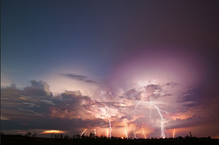 A series of multiple strikes over Puławy, Poland.