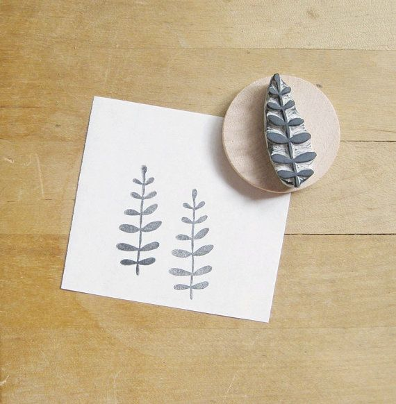 Little leaves hand carved rubber stamp stamps