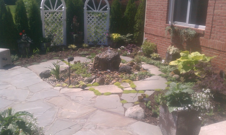 new york blue irregular flagstone with mosses and ground covers in between gaps