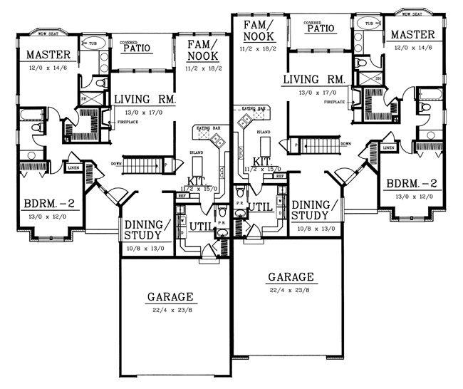 51 best Duplex house plans images on Pinterest House blueprints - plan de maison avec patio