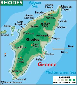 The tiny island to the left of Rhodes is the island where our Dad was born, Halki (Chalki).