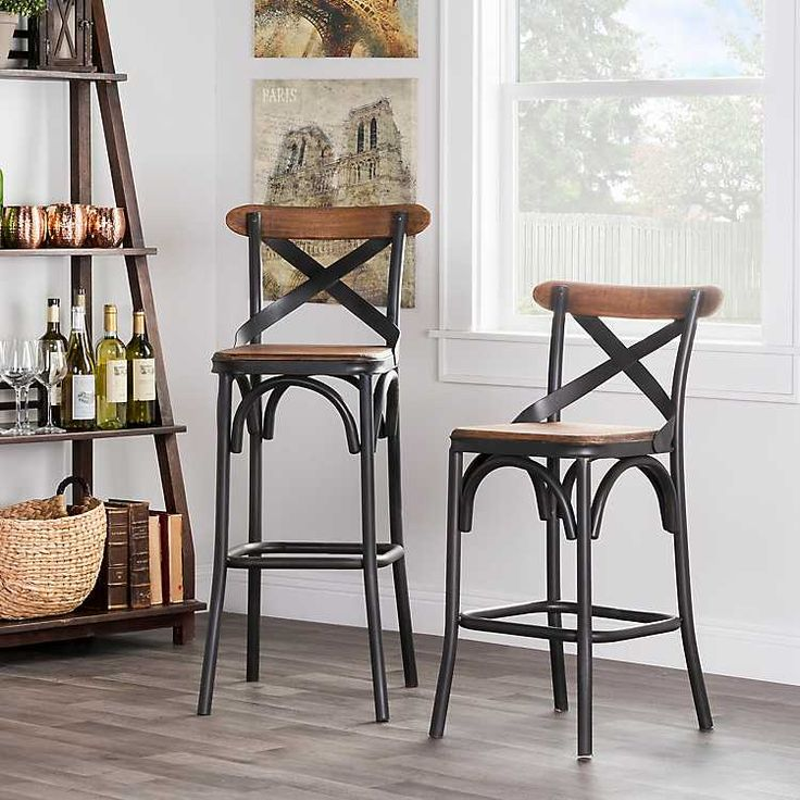 wooden and metal cross back blake counter stool from