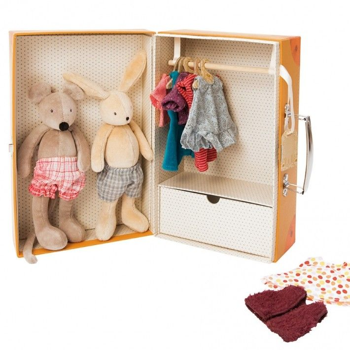 This is one of those toys from Moulin Roty that makes you go 'ooh'. It's a sturdy suitcase that doubles as a wardrobe and comes with two soft dolls - Nini the mouse and Sylvain the rabbit, plus a few outfit changes!