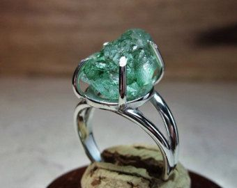 Raw Emerald Ring, Emerald Ring, Rustic Ring, Emerald Solitaire, Promise Ring, Unique Engagement, Natural Emerald Ring, Green Gemstone, - Sale! Up to 75% OFF! Shot at Stylizio for women's and men's designer handbags, luxury sunglasses, watches, jewelry, purses, wallets, clothes, underwear & more!