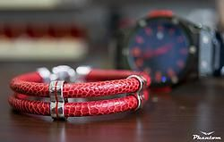Red Ostrich Leather Bracelet. This gorgeous bracelet made from ostrich leather and sterling silver with red enamel is created for Italian style lovers. #jewelry #leatherbracelet #phantom #ostrichbracelet #silver #handcrafted #beautiful #bracelet #fashion #musthave #leather #enamel #red.