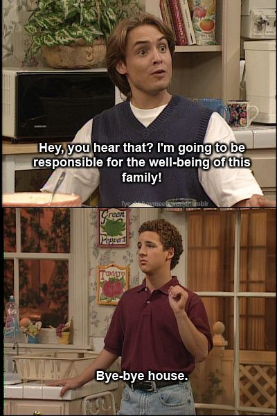 Boy Meets World; I used to watch this show all the time when I was younger and still watch it when I find re-runs on.  I love this show and the real life problems it addresses as well as the humor they throw into it.  Iwish more shows like this were still on honestly.