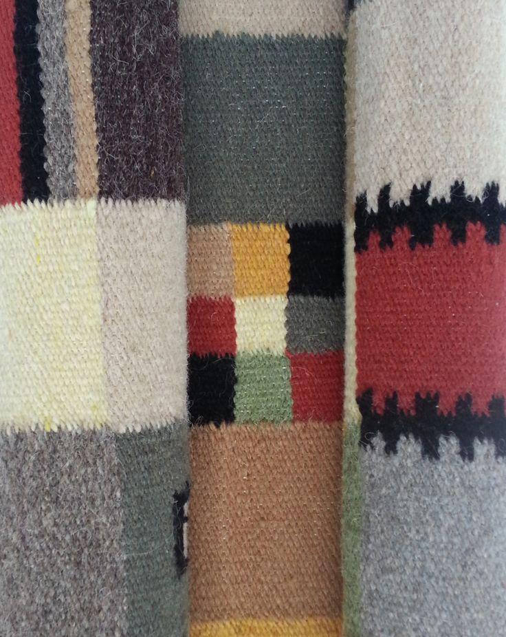 Rustic decor - Handmade colorful wool area rug - traditional Romanian folk art